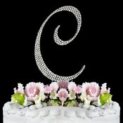Swarovski Crystal Monogram Wedding Cake Topper Letter C