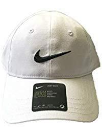 NIKE Toddler Just Do It Sports Hat Adjustable Sun Cap (White w/ Signature Black Swoosh)