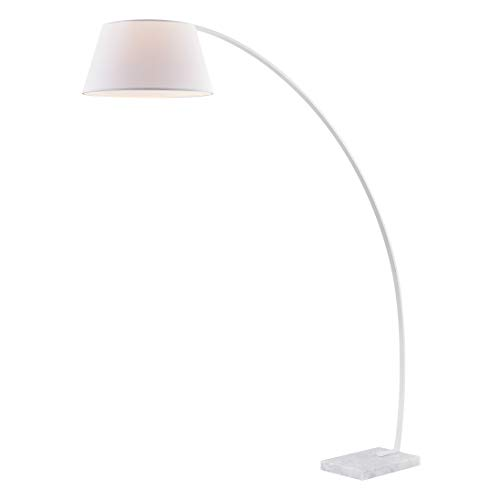 Light Society Daya Arc Floor Lamp in White with Shade and Solid Marble Base, Overarching Modern Loft-Style Lighting (LS-F302-WH)