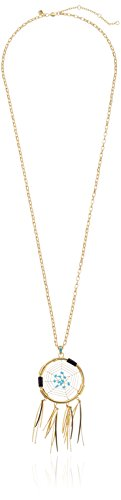 Rebecca Minkoff Gold with Turquoise Large Dream Catcher Pendant Necklace, 34