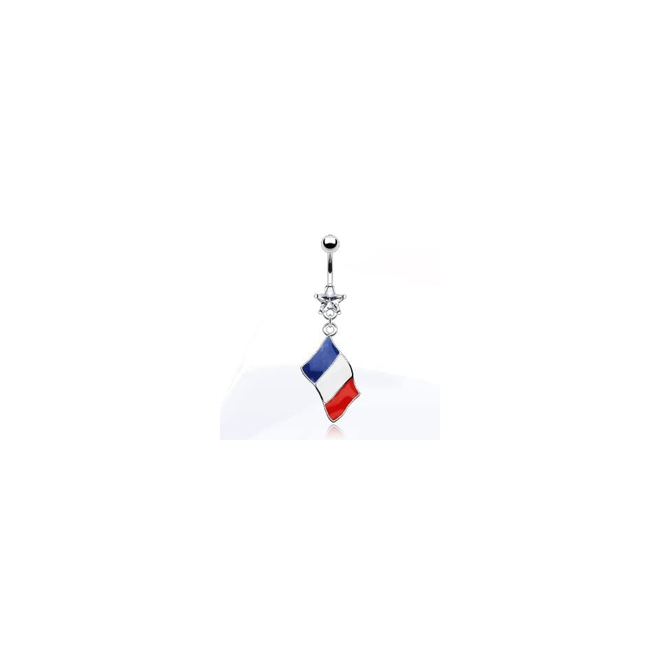 316L Surgical Steel and Star Gem Belly Ring with Epoxy Flag of France