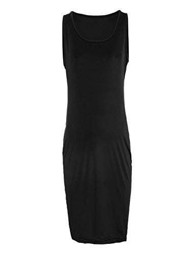 BSGSH Women's Sleeveless Maternity Dress/Comfy Soft Pregnancy Clothes Sleepwear Solid (M, Black) by BSGSH_Maternity Dress (Image #1)