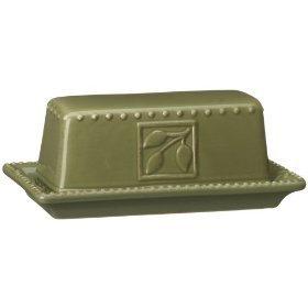 Signature Housewares Sorrento Collection Butter Dish, Green Antiqued (Antiqued Green Italian Ceramic)