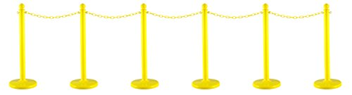 Mr. Chain 71102-6 Yellow Plastic Stanchion Kit with 50' of 2'' link Chain and C-Hooks, Pack of 6 by Mr. Chain