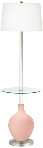 Rose Pink Ovo Tray Table Floor Lamp - Pink Brushed Floor Lamp