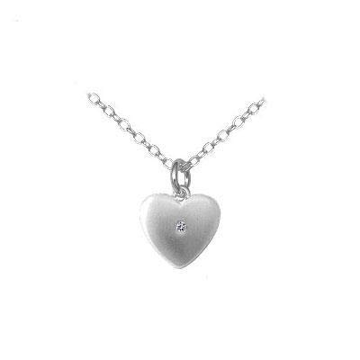 Silver Diamond Heart Pendant Necklace For Girls Kids Jewelry 14 to 16 In