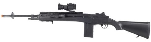 BBTAC Airsoft Sniper Rifle M14 Airsoft Gun BT-M1602 Spring Operated with Red Dot Scope and Flashlight