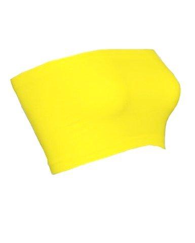 Niki Biki Nylon/Spandex Seamless Strapless Tube Top Bandeau Bra Cover,One Size Fits Most,Yellow