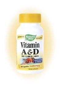 Natures Way Vitamin A and D 15,000 IU/ 400 IU - 100 Capsules, 8 Pack