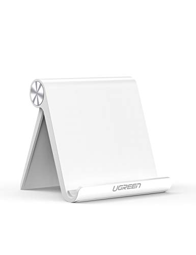 UGREEN Tablet Stand Holder Desk Adjustable Compatible for iPad 9.7 2018, iPad Pro Air 2019 iPad Mini 4 3 2, Nintendo Switch, Samsung Galaxy Tab S5e S4 S3, iPhone 11 Pro Max XS XR X 8 Plus 7 6 (White)