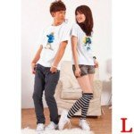 Lovely The Smurfs Style Cotton Lover's Short-Sleeve T-Shirt for Lady(1-Pack)-White/Size L
