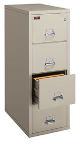 FireKing 421572CBL 4 Drawer Vertical File, Insulated, UL 2-Hour Fire, Legal Size, 32-1/16D, Black