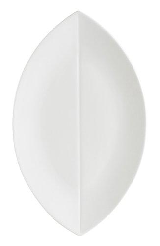 White Platter Leaf (CAC China COL-V61 Flat Leaf 16-Inch by 9-1/2-Inch Super White Porcelain Platter, Box of 12)