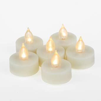 Battery Operated LED Tealight Candles with Timer Realistic Flickering Timing Flameless Tea Lights Set Bulk Electric Fake Night Candle Lights for Halloween Christmas Party Wedding Decorations Pack of 6
