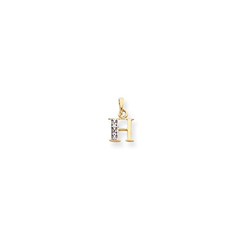 14k Two-Tone Solid Prong set Gold Polished .01ct Diamond Initial H Charm
