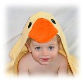 : Yellow Duck Hooded Towel by Frog Kiss Designs - Hooded Towel for Babies