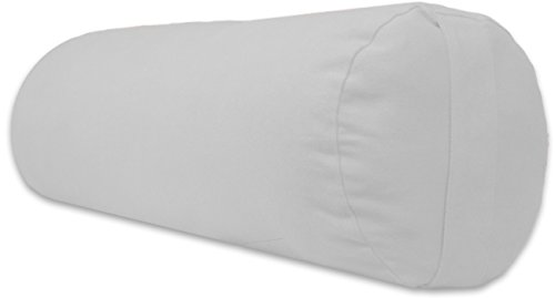 YogaAccessories Supportive Round Cotton Yoga Bolster - Off White