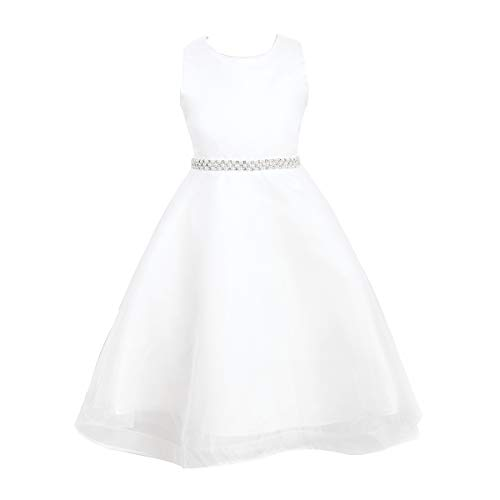 Mrprettys Ivory Satin Organza Flower Girl Dress Ivory Junior Bridesmaid Dresses ()
