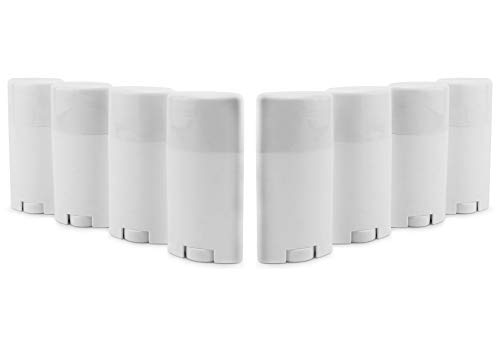 Cornucopia Empty Plastic Deodorant Containers (8-Pack); 2.5oz Style #2 Bottom Fill Twist-Up Style Tubes, Refillable for DIY, BPA-Free White Oval Shape ()