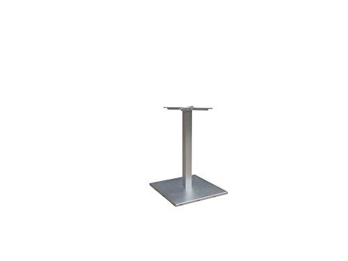 Tischgestell Aluminium Edelstahllook mit viereckigem Grundgestell