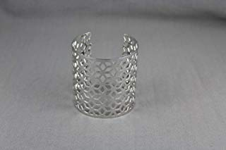 Shiny silver tone metal cuff bracelet 2 3/8 wide honeycomb pattern bangle ()