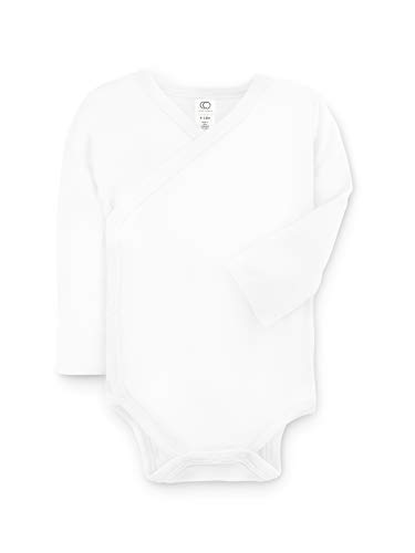 Colored Organics Baby Organic Cotton Kimono Bodysuit - Long Sleeve Infant Side Snap Onesie - Newborn 0-3 Months White