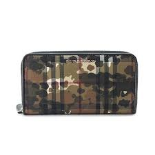 Burberry-Horseferry-Check-and-Camouflage-Ziparound-Wallet-HoneyBlack