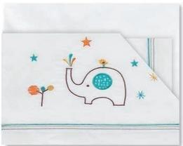 Pirulos 00212418 - Sábanas, diseño elefante, 40 x 80 cm, color blanco y naranja Coimasa