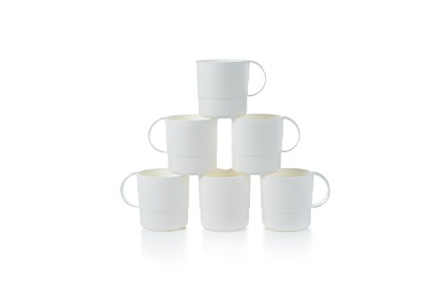 Amuse- Eco Friendly Sturdy Unbreakable & Stackable Mugs for Water, Coffee, Milk, Juice, Tea- Set of 6-11 oz (White) -