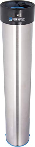 San Jamar Stainless Steel Surface Mount Beverage Foam Cup Dispenser -  Easily Adjusts To Hold A Full Sleeve Of Most 12 oz To 24 oz Cups ()