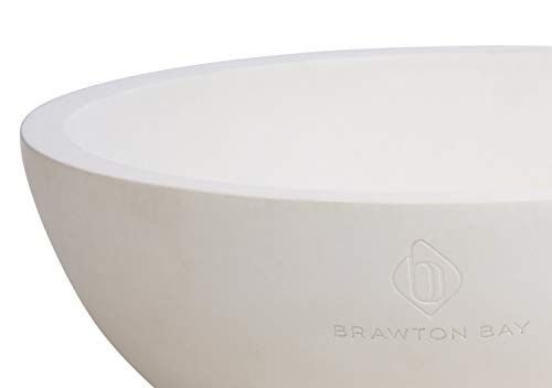"""Decorative Fruit Bowl for Kitchen or Dining Room, Concrete, White - Extra Large Food Bowls for Snacks, Candy - Handmade Kitchen Accessories for Tables and Countertops, 12"""" Diameter by Brawton Bay (Image #8)"""