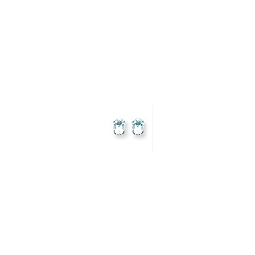 (14k White Gold 7x5 Oval Earring Mountings Length 8 Width 5)