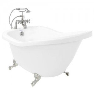 American Bath Factory P7-CT1B-SN Chelsea Acrylic Clawfoot Tub with Deck Mount Faucet, Satin Nickel from American Bath Factory