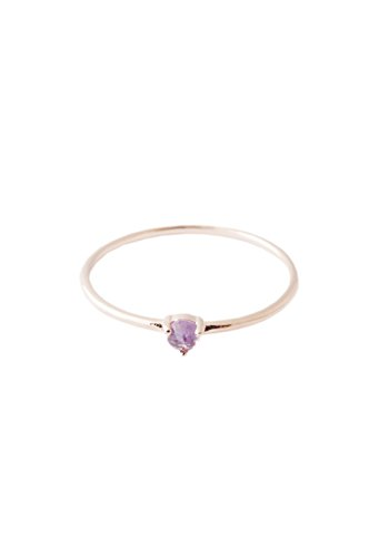 HONEYCAT Purple Amethyst Crystal Point in 18k Rose Gold Plate | Minimalist, Delicate Jewelry (Rose Gold 6) (100 Gem Soles Gold)
