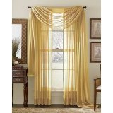 (1 X MONAGIFTS 2 PANELS GOLD Sheer Voile Window Panel curtains 59