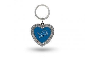 Rico NFL Detroit Lions Rhinestone Heart Keychain