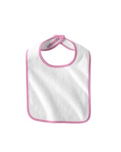 (Infant Terry Snap Bib - WHITE/PINK - OS by Rabbit Skins )