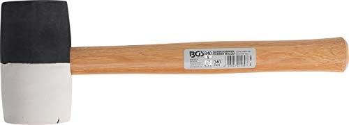 BGS 1969 | Gummihammer | Hickory-Stiel | schwarz-weißer Kopf Ø 63 mm | 340 mm | 850 g