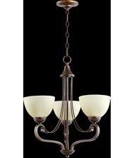 Quorum Lighting 6031-3-86, Lariat Glass 1 Tier Chandelier Lighting, 3 Light, Oiled Bronze