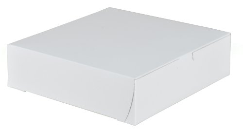 Southern Champion Tray 0953 Premium Clay-Coated Kraft Paperboard White Non-Window Lock Corner Bakery Box, 9'' Length x 9'' Width x 2.5'' Height (Case of 250) by Southern Champion Tray