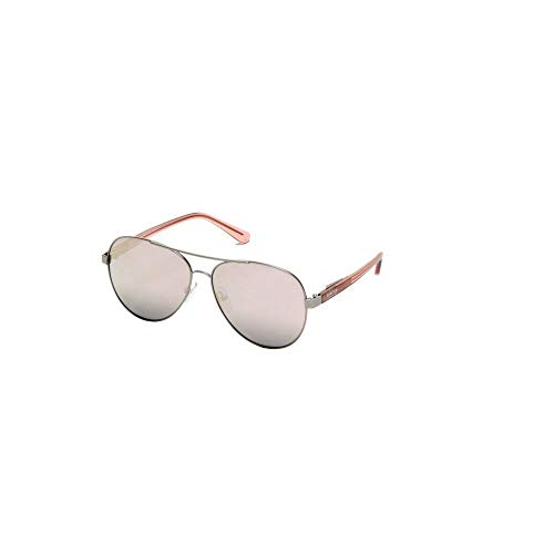 (Kenneth Cole Reaction Oversized Cutout Aviator Sunglasses in Gunmetal/Rose)