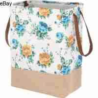 Pioneer Woman Canvas Laundry Hamper White Floral (Online Laundry Hampers)