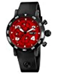 Timemaster Chronograph Day Date Men's Red Dial Black Rubber Strap Automatic Swiss Black PVD Watch CH-9045-RE
