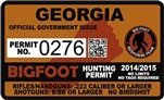 "Georgia Bigfoot Hunting Permit 2.4"" x 4"" Decal Sticker"