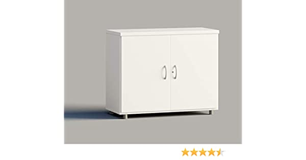 Euromof Armario de Oficina, Bajo, Puertas con Cerradura. 92x42x78 cm. Color Blanco.: Amazon.es: Hogar
