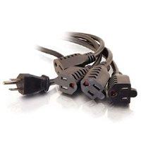 C2G 29803 16 AWG 1-to-4 Power Cord Splitter - NEMA 5-15P to 4 NEMA 5-15R, TAA Compliant, Black (1.5 Feet, 0.45 Meters)