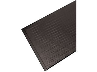 Antifatigue Mat - Commercial Industrial Floormat -''Airlift Standard'' - 04' x 05' - 3/8'' Thick - Diamond Embossed Surface - Black w/Yellow Stripe