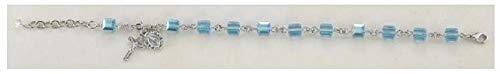 Swarovski Crystal Aqua Cube Shaped Rosary Bracelet 6mm
