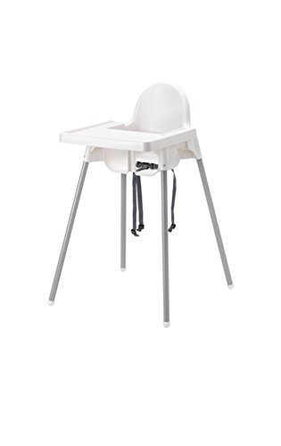 IKEA ANTILOP Highchair with safety belt, white, silver color and ANTILOP Highchair white