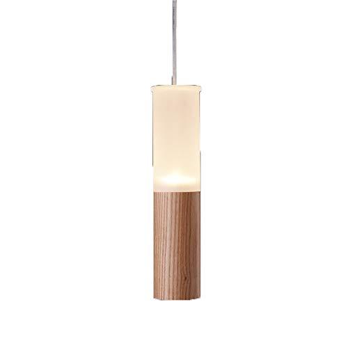 Tlinksy Solid Wood Pipe Chandelier Nordic Retro Acrylic lampshade LED Single Head Wood Art Pendant Light Restaurant Bedroom - Decorated Antler Pipe
